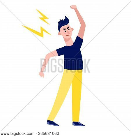 Angry Man Standing And Raise Hand Isolated On White.