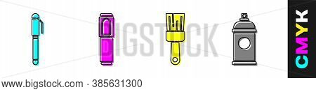 Set Pen, Marker Pen, Paint Brush And Paint Spray Can Icon. Vector