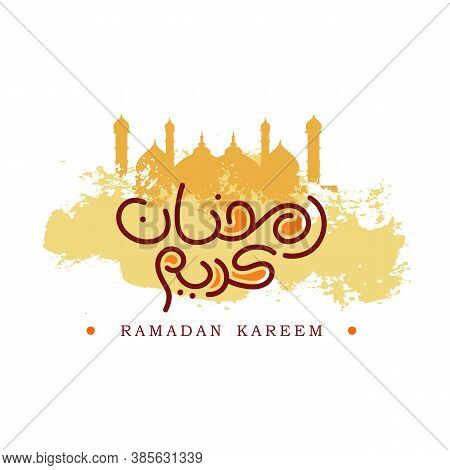 Ramadan Kareem Design Arabic And English Text Ivory Background With Masjid Silhouette