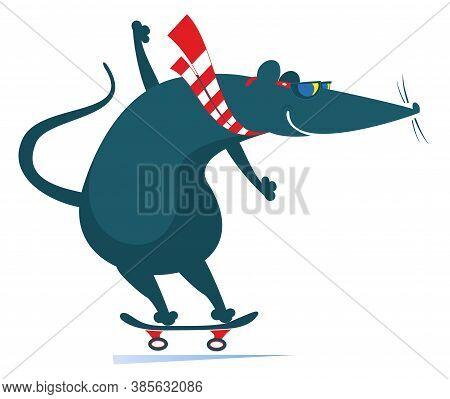 Cartoon Rat Or Mouse A Skateboarder Illustration. Cartoon Rat Or Mouse Rides On The Skateboard Isola