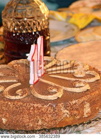 Delicious Cake With Cipher Fourteen Of Chocolate Surface. Art Of Decorating Confectionery Product. C