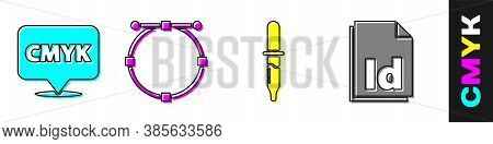 Set Speech Bubble With Text Cmyk, Circle With Bezier Curve, Pipette And Id File Document Icon. Vecto