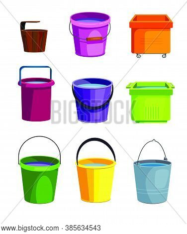 Colorful Buckets Set. Collection For Cleaning Service. Can Be Used For Topics Like Housework, Sanita