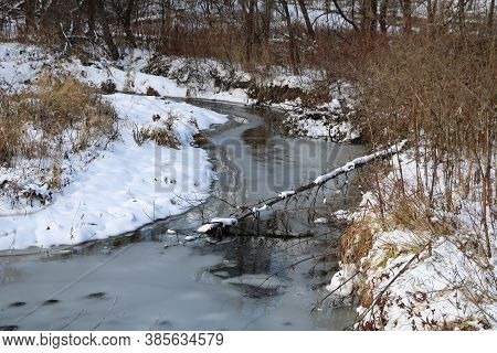 Frozen Sheridan Creek In Rattray Marsh In Early Winter.