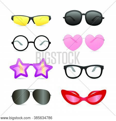 Funny Glasses Of Different Shapes. Set Of Bright Eyewear. Can Be Used For Topics Like Summer, Store,