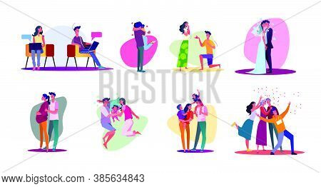 Family Lifecycle Set. Couple Dating, Getting Married, Having Baby, Getting Old. Flat Vector Illustra