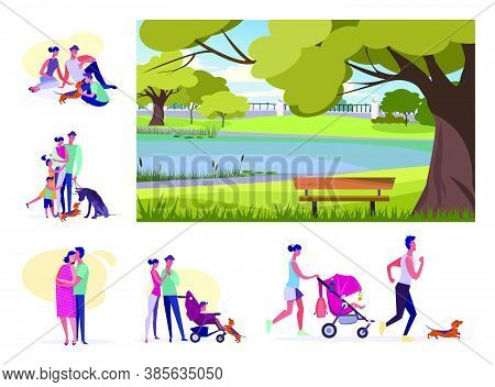 Set Of Young Families Resting At Summer. Flat Vector Illustrations Of Parents Spending Time With Chi