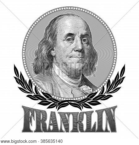 Portrait Of Benjamin Franklin With Laurel Branches And The Inscription