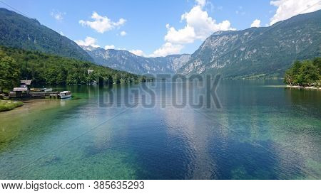 View On Bohinjsko Jezero Lake In Bohinj, Slovenia. Travel And Tourism.
