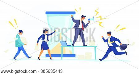 Hurrying Workers, Burnout. Boss Shouting At Employees, Deadline Flat Vector Illustration. Work Relat