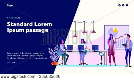 Men And Women Working At Office. Business People Creating Project Flat Vector Illustration. Discussi