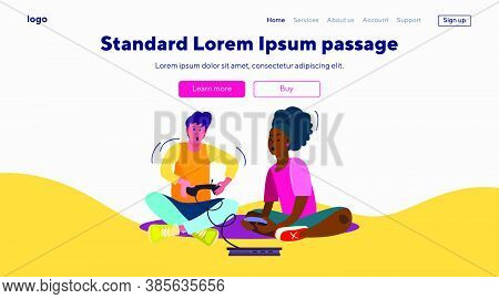 Teens Playing Video Games. Excited Boy And Girl With Gamepads Flat Vector Illustration. Teenagers, L