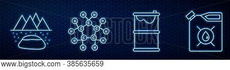 Set Line Barrel Oil Leak, Oilfield, Molecule Oil, Canister For Motor Machine Oil And Barrel Oil. Glo