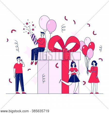 Happy People Making Gifts And Presents Vector Illustration. Man And Woman Celebrating Christmas Part