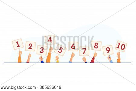 Jury Giving Evaluation And Showing Scorecards. Set Of Human Hands Holding Cards With Numbers, Amount