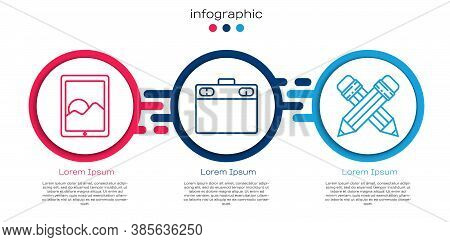 Set Line Graphic Tablet, Graphic Tablet And Crossed Pencil With Eraser. Business Infographic Templat