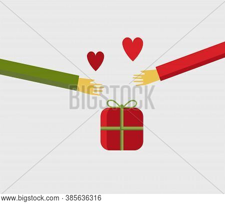 Illustration Of People Hands Sharing A Christmas Gift With Love Isolared On Background