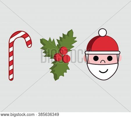Illustration Of Three Icons Or Symbols Of Christmas Season.  Red And White Candy Cane, Holly Christm