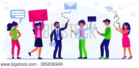 People Sending And Receiving Messages. Online Chat, Email, Envelope, Newsletter Flat Vector Illustra