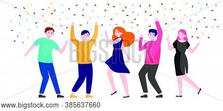 Happy People Dancing At Party Together Flat Vector Illustration. Cartoon Excited Friends Or Coworker