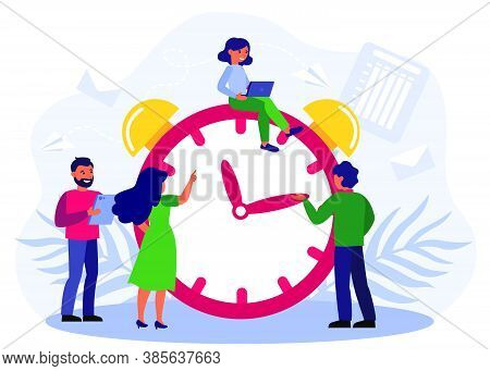 Happy People Adjusting Alarm Clock. Effective Business Team With Gadgets Working At Chronometer, Vec