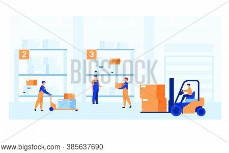 Logistic Workers Carrying Boxes With Loaders In Warehouse. Couriers Wheeling Carts With Cargo, Ridin