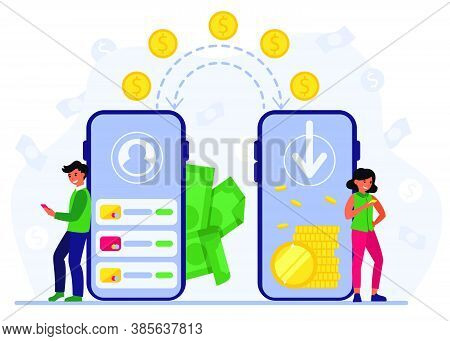 People Using Mobile Bank For Remittance Of Money. Man And Woman With Smartphones Sending Coins To Ea