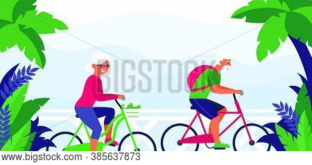 Senior Couple Riding Bike. Tropical Resort, Cycling, Outdoor Activity Sign Flat Vector Illustration.