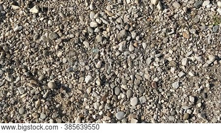 Grey Stones Background. Gray Stones. Small And Large Crushed Stone. Natural Background.