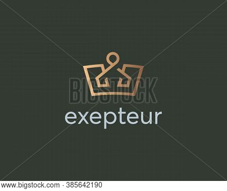 Elegant Crown Premium Logo. Luxury Royal King Logotype. Monarch Symbol. Creative Vector Emblem Sign.