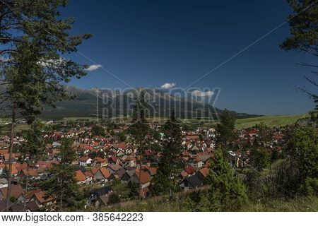 Vazec Village View With Vysoke Tatry Mountains In Sunny Summer Day