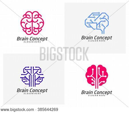 Set Of Tech Brain Logo Design Vector Template. Think Idea Concept. Brainstorm Power Thinking Brain I