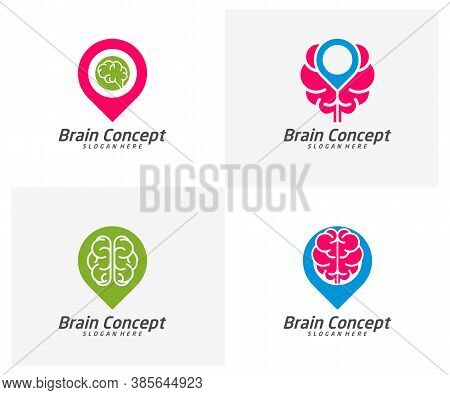 Set Of Brain Point Logo Design Vector Template. Think Idea Concept. Brainstorm Power Thinking Brain