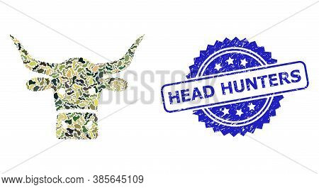 Military Camouflage Collage Of Beef Head, And Head Hunters Textured Rosette Seal Imitation. Blue Sta