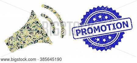 Military Camouflage Collage Of Announce Horn, And Promotion Corroded Rosette Stamp. Blue Stamp Inclu