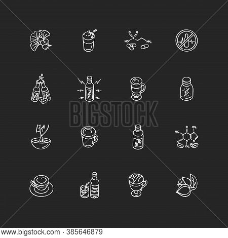 Energy Drinks And Caffeine Chalk White Icons Set On Black Background. Ginkgo Biloba. Scientific Form