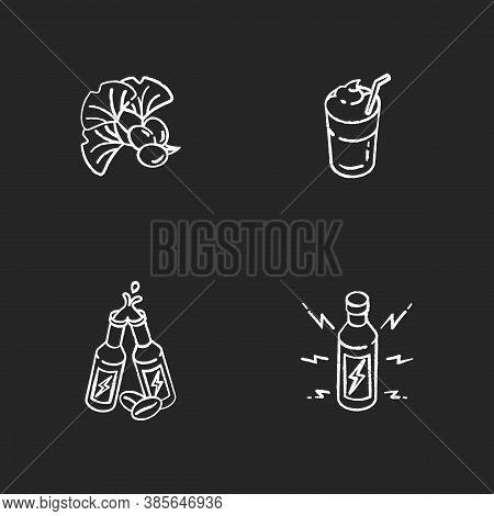 Caffeinated Drinks Chalk White Icons Set On Black Background. Ginkgo Biloba Ingredient. Coffee Mug.