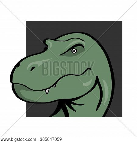 Head Of A Terrible Tyrannosaurus With Predatory Eyes. Prehistoric Animal. Vector Outline Illustratio