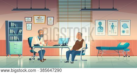 Doctor And Patient Sit In Medical Office. Vector Cartoon Illustration Of Cabinet Interior In Hospita