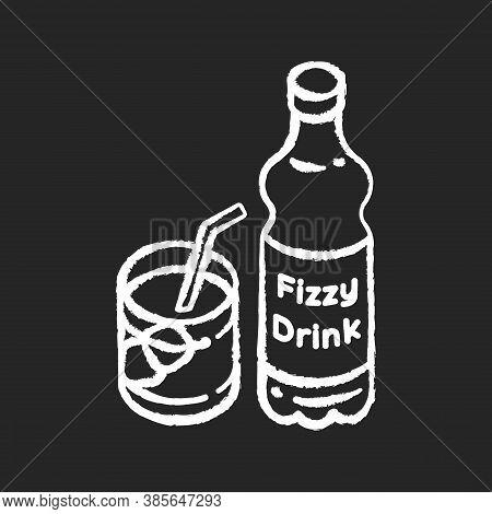 Fizzy Drink Chalk White Icon On Black Background. Iced Beverage In Bottle. Liquid In Mug. Sparkling