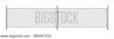Metal Chain Link Fence, Segment Of Rabitz Grid Isolated On White Background. Vector Realistic Illust
