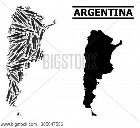Virus Therapy Mosaic And Solid Map Of Argentina. Vector Map Of Argentina Is Organized With Inoculati