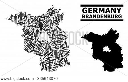 Virus Therapy Mosaic And Solid Map Of Brandenburg State. Vector Map Of Brandenburg State Is Shaped O