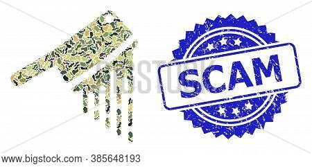 Military Camouflage Composition Of Blood Butchery Knife, And Scam Corroded Rosette Seal Print. Blue