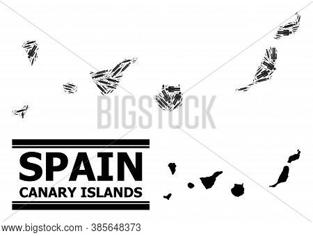 Vaccination Mosaic And Solid Map Of Canary Islands. Vector Map Of Canary Islands Is Formed From Inje
