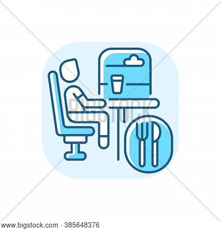 Dining Car Blue Rgb Color Icon. Traveling With Comfort, Train Restaurant. Train Service, Onboard Buf