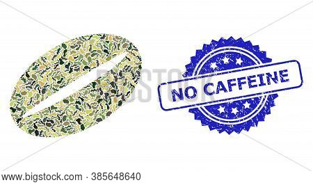 Military Camouflage Combination Of Coffee Bean, And No Caffeine Grunge Rosette Stamp. Blue Stamp Sea