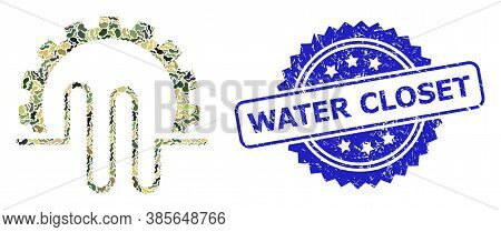 Military Camouflage Composition Of Pipe Service Gear, And Water Closet Dirty Rosette Watermark. Blue
