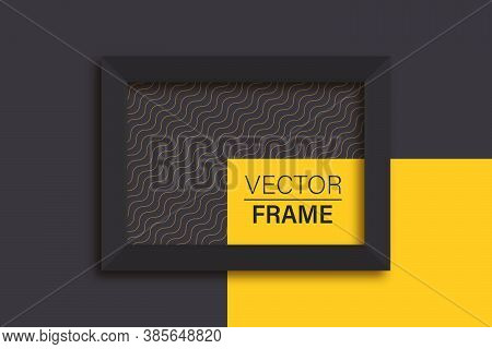 Abstract Frame. Flat Lay Of Black Frame. Frame Mockup Template On Isolated Dark Background. Black An