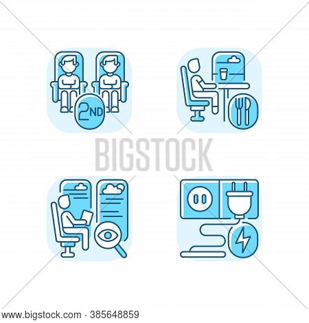 Economy Class Train Services Blue Rgb Color Icons Set. Second Class Seats, Charging Sockets, Observa